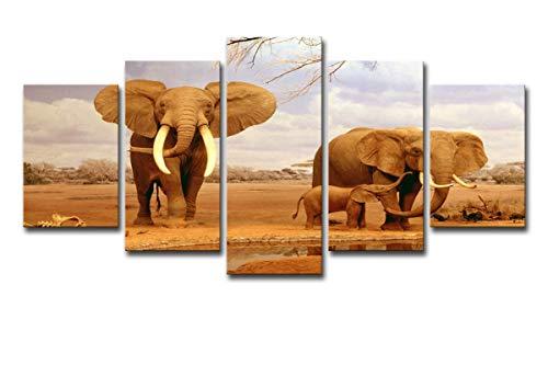 HDWALLART Impresiones De Lienzos Grandes HD Impreso Elefantes Africanos Pintura De La...
