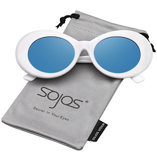 SOJOS Clout Goggles Ovale Mod Retro Vintage Kurt Cobain Inspiriert Sonnenbrille Runde Linse SJ2039 mit Weiß Rahmen/Dunkelblau verspiegelt Linse