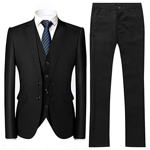 Herren 3 Teilig Anzug Slim fit mit Einreiher Jacke Anzughose und Weste Men 3 Piece Suit für Business -