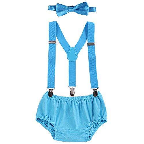 OBEEII Baby 1. / 2. Geburtstag Outfit Neugeborenen Kinder Bloomer Shorts + Fliege + Clip-on Hosenträger 3pcs Bekleidungssets für Foto-Shooting Kostüm Blau