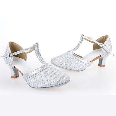 Ruhe @ Damen Dance Schuhe synthetischer lateinischer Heels Cuban Heel Indoor-/Performance Silber/Gold goldfarben