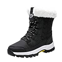 Women Winter Snow Boots, Ladies Solid Lace-Up Non-Slip Waterproof Keep Warm Shoes