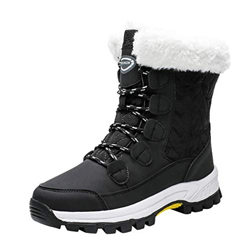 TIMEMEAN Men Boots Ankle Non-Slip Waterproof Keep Warm Lace-Up Platform Casual Snow Boot