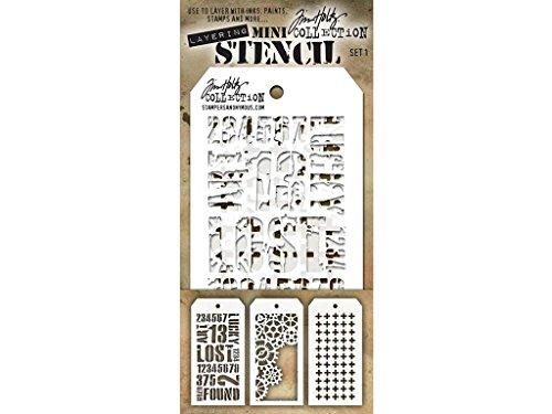 Stempel Anonymous Tim Holtz Mini Layered Schablone Set # 1 (Layered Mini)