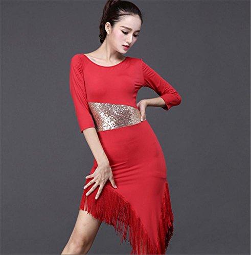 robe à manches longues frangées professionnelle danse latine / danse de femmes Red