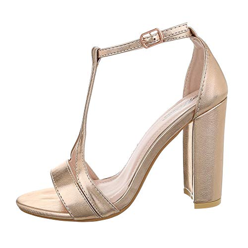Ital-Design Damenschuhe Sandalen & Sandaletten High Heel Sandaletten Synthetik Gold Rosa Gr. 41 Gold High Heel Sandaletten