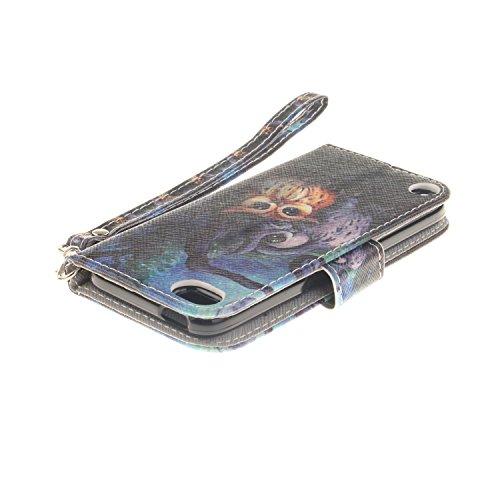 Voguecase® für Apple iPhone SE hülle,(Katzenbär 03) Kunstleder Tasche PU Schutzhülle Tasche Leder Brieftasche Hülle Case Cover + Gratis Universal Eingabestift Aquarell-Eule