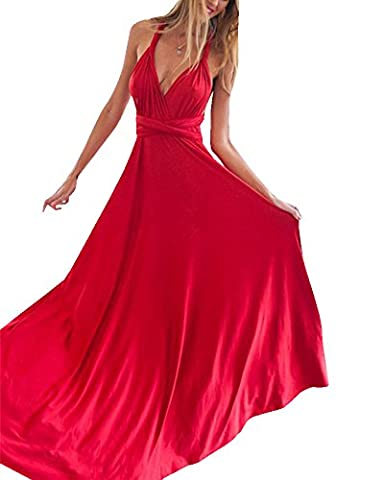 Damen Rückenfrei Tiefer V-Ausschnitt Neckholderkleider Maxikleid Strandkleid Abendkleid Ballkleid Cocktailkleid Partykleid Rot M