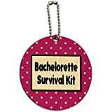 Bachelorette Survival Kit Round Wood ID Tag Luggage Card Suitcase Carry-On