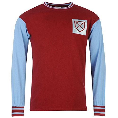 Score Draw West Ham United 1966 Home Herren Fussball Shirt Langarm Retro Claret/Blue Extra Lge (Retro Home Trikot)