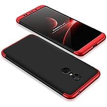 Funda Xiaomi Redmi 5 Plus, 360 Grados Integral Carcasa Cuerpo Completo Caso Cubierta, 3 en 1 Híbrido Anti-Choque Snap On Case, Anti-Arañazos & Anti-Huellas dactilares Duro Ligero Shell (Negro+Rojo)