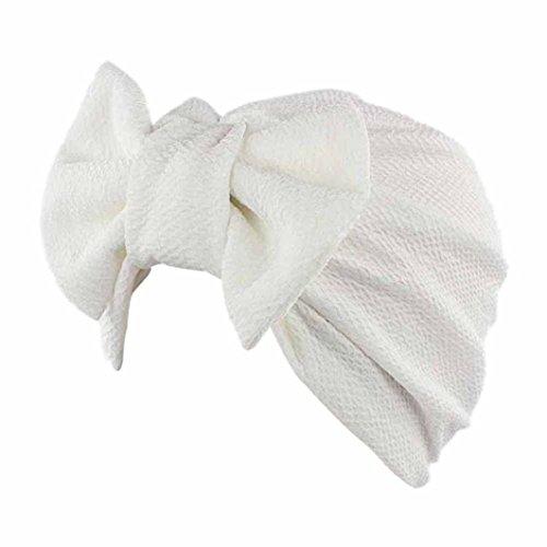 Transer Cap Damen Mode Schön Hüte Make-up Baumwolle+Nylon Turban Hut Wrap Wassermelone Rot Gelb Rosa Pink Lila Khaki Beige Hijib Einfarbig Mützen mit Groß Bowknot (Weiß) - Mode-hut