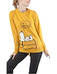 GISELA - Pijama Snoopy Mujer Color: Mostaza Talla: Medium