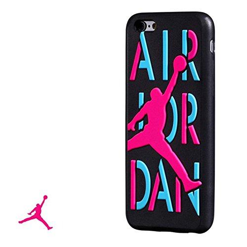 NEW Ronney de Air Jordan Semelle en silicone souple pour Apple iPhone 6/6S, Silicone, Noir/violet, STYLE 2 BLACK PURPLEJ