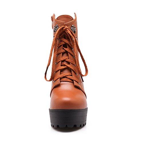 VogueZone009 Damen Niedrig-Spitze Blend-Materialien Hoher Absatz Rund Zehe Stiefel Gelb