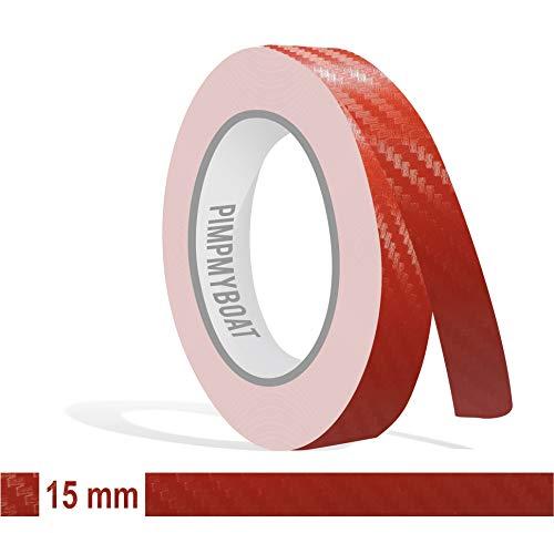 Siviwonder Zierstreifen rot Carbon in 15 mm Breite und 10 m Länge Folie für Auto Aufkleber Boot Jetski Modellbau Klebeband Dekorstreifen