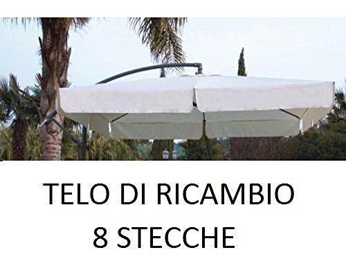 Megashopitalia top telo di ricambio per ombrellone decentrato in alluminio 2,5 x 2,5 metri a 8 stecche con airvent cucito colore ecrù solo telo