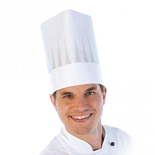 Einweg-Kochmütze, Kochhaube aus Viskose Vlies, Papier-Kochmütze, Chefkochmütze, Küchenkopfbedeckung mit Faltenschattierung in weiß, Größe:21 cm