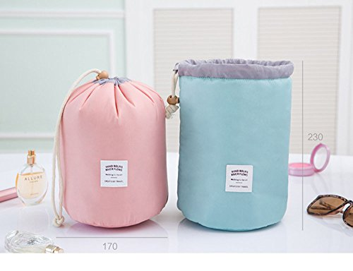 Die neue Weise Reise-Make-up Kosmetik-Tasche der Tasche der Tasche des Artikel Schminktisch antik Box zylindrisch 1pc pink Pink