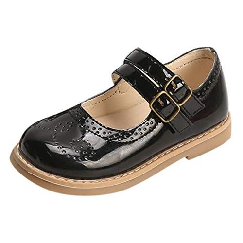 EUCoo_ Kinder 2019 Neue Kinderschuhe Mädchen Kleine Schuhe Prinzessin Schuhe Rutschfester weicher Boden Einzelne Schuhe Müßiggänger Britischer Stil Kunstledersandalen