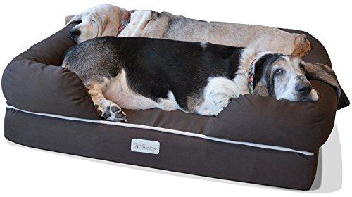 Cama de espuma viscoelástica para perros medianos y grandes, Marrón...