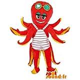 Mascota SpotSound Amazon naranja personalizable y pulpo amarillo, disfraz acuático