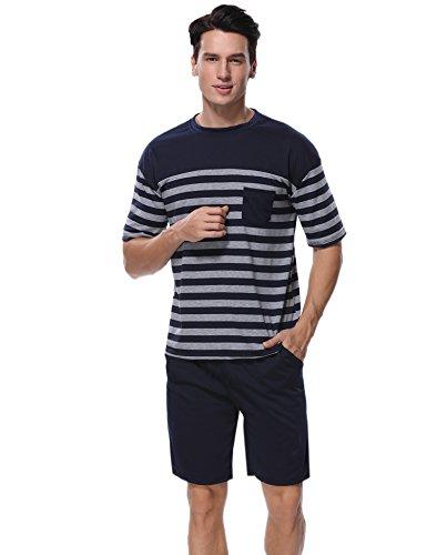 Aibrou Herren Schlafanzug Pyjama Baumwolle Kurz Gestreift Frühling/Sommer Nachtwäsche Kurzarm Rundhals Blau M (Blaue Sommer-pyjama)