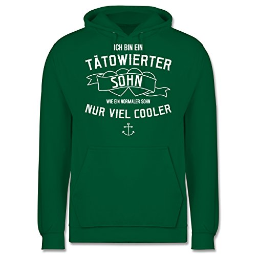 Typisch Männer - Ich bin ein tätowierter Sohn - Männer Premium Kapuzenpullover / Hoodie Grün
