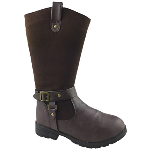 girls-fashion-faux-suede-leather-mid-calf-winter-boots-chocolate-size-13-6-uk-3-chocolate