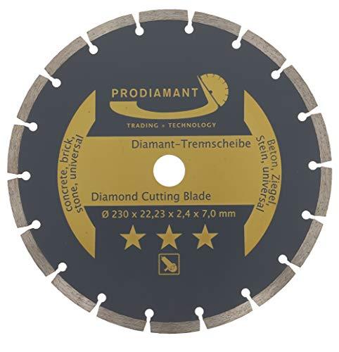 PRODIAMANT Diamant-Trennscheibe 230 x 22,2 mm - Beton, Stein, Ziegel, universal 230mm, Sägeblatt für Trocken und Nass schneiden