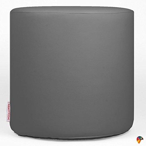 Arketicom chill pouf poggiapiedi rotondo ecopelle sfoderabile puff grigio 42x42