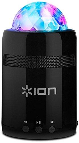 ION Audio Party Starter MKII - Ultra-kompakter, akkubetriebener Bluetooth-Lautsprecher mit farbenfroher Partybeleuchtung, Aux-Eingang und integriertem Mikrofon