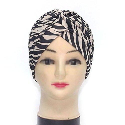TININNA Bandana a pieghe stile Vintage cuffia,Turbante Retro Equipaggiata copertura della testa Wrap fascia Chemo Bandana Hijab Pieghe Cap indiano-zebra beige