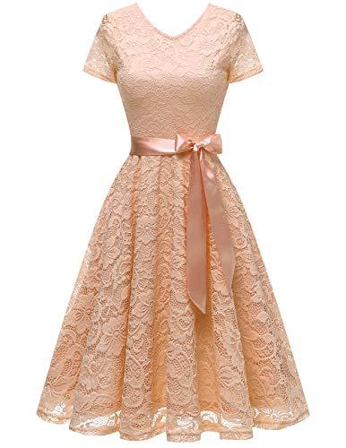 bridesmay Damen 50S Retro Spitzenkleid Kurzarm Elegant Brautjungfernkleid Abendkleider Champagne S - Kleider Damen Abend-formale