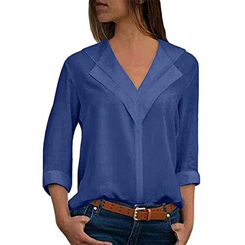 Auied Bluse Damen Langarm Einfarbig V-Ausschnitt Elegante Tunika Casual Top Locker Langarmshirts mit Knopfleiste Frauen Oberteile Elegant