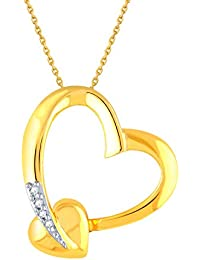 Silvernshine 0.06 Carat T. W. Diamond 14k Yellow Gold Fn .925 Sterling Heart Pendant Necklace