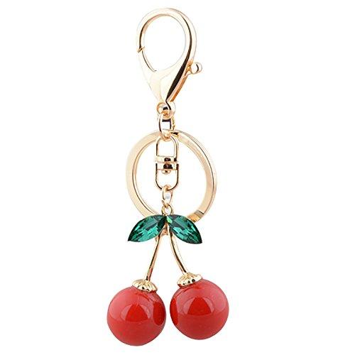 Kanggest 1 pièce Porte-clés en forme de Cerises Alliage Porte Clef pour Femme Sac Porte Cle pour Voiture/Téléphone/Mariage/Pochette(Rouge)