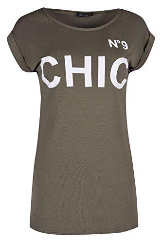 Oops Outlet Damen Gekrempelt Flügelärmel Nr. 9 Schick Damen T-shirt Top Dehnbar Mini Weste Khaki