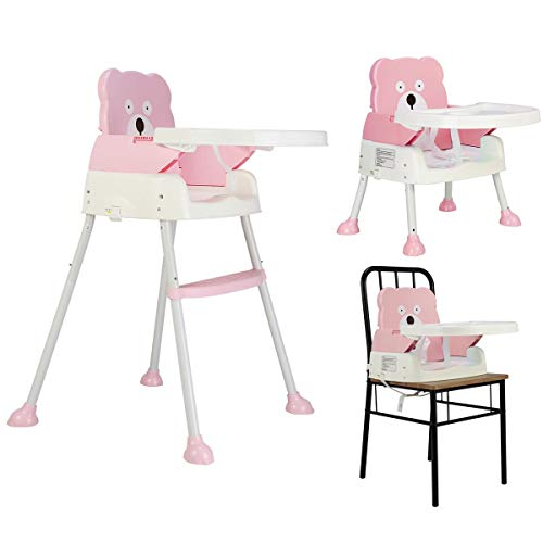 COSTWAY 2 in 1 Babyhochstuhl Sitzerhöhung | Kinderhochstuhl klappbar | Babystuhl Kombihochstuhl Baby | Essstuhl (Rosa)