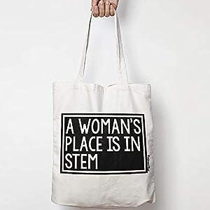 A WOMAN'S PLACE IS IN STEM leinentasche aus natürlicher baumwolle WAHL VON ZWEI FARBEN for activism, feminism