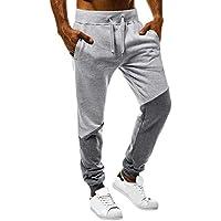 beautyjourney Pantalones Deportivos para Hombres con cordón Patchwork Pantalones Casuales Pantalones de Tela Pantalones para Correr al Aire Libre Leggings de Fitness