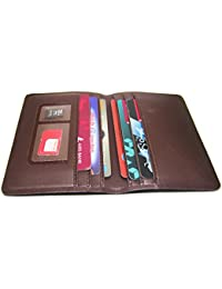 Artificial Leather Brown Credit Card Holder Wallet With Sim And Memory Card Slot.