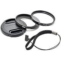 Kiwifotos–Kit de lentes para Sony Cyber-shot DSC-RX100–incluye adaptador de filtro de 52mm, filtro UV, tapa de objetivo y tapa Keeper