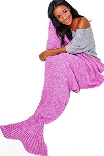 Coperta fatta a mano, all'uncinetto, a forma di coda di sirena, per adulto, per sofà, Pink, taglia unica - Grande Punto Di Sonno Cozy