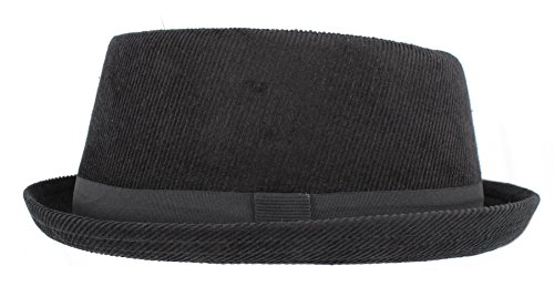 Hawkins Headwear Corduroy Black Pork Pie H95 (Unisex/Mens/Ladies) (M/L 59cm)
