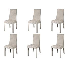 korb.outlet Lot de 6 chaises de salle à manger modernes en rotin naturel sur cadre en bois solide Blanc