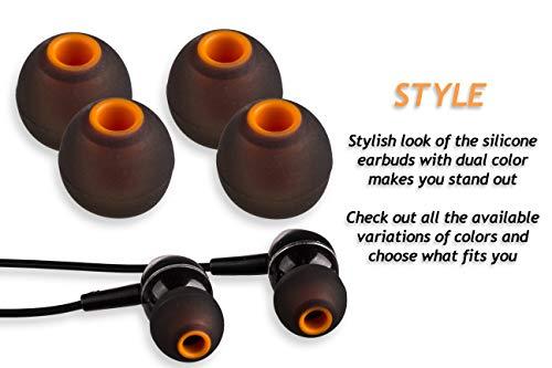 XCESSOR (S/M/L) 6 Paar (12 Stück) Silikon-Ersatz-Ohrhörer S/M/L Größe Ohrhörer Ersatz-Ohrstöpsel für Beliebte in-Ear-Kopfhörer. Schwarz/Orange - 4