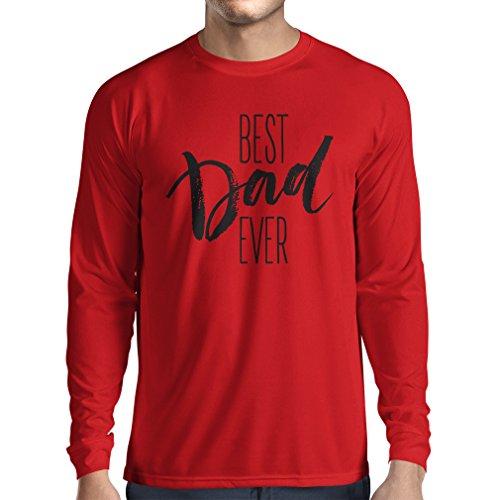 Langarm Herren t shirts Bester Vati überhaupt glücklicher Vatertag oder Geburtstagsgeschenk für Ehemann Rot Mehrfarben