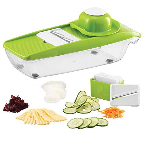 Twinzee 5-in-1 Kompakter Mandoline Gemüsehobel Ideal Zum Hobeln von Obst und Gemüse - Gemüse-Schneider - Scheiben, Reiben, Einfach