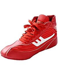 online store e68b9 e4049 Day Key Chaussures de Catch Rouge pour Hommes, Chaussures de Catch en Cuir  Haut Bas